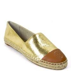 Tory Burch Color Block Gold/Tan Espadrille Shoe